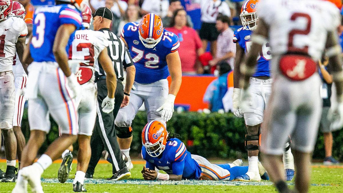 Florida's Emory Jones reacts after the Gators' loss to Alabama
