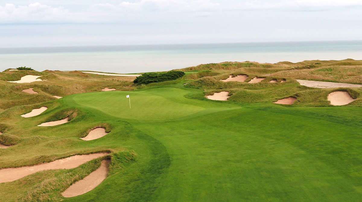 The first green at Whistling Straits. The par-4 1st hole will play shorter than in the 2015 PGA Championship and might be reachable for the longest hitters, if the wind blows with just right.