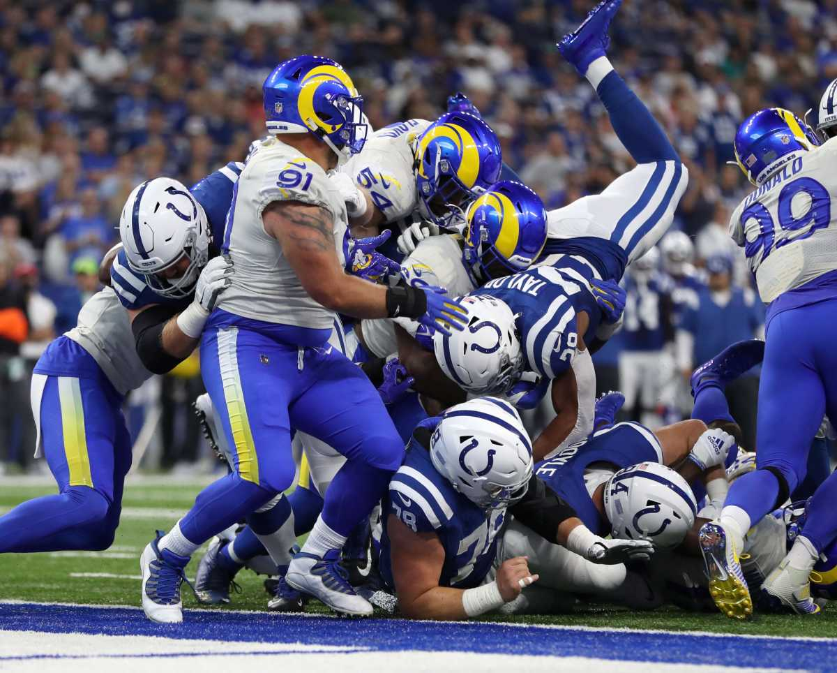 Indianapolis Colts running back Jonathan Taylor (28) attempts to dive into the end zone Sunday, Sept. 19, 2021, during a game against the Los Angeles Rams at Lucas Oil Stadium in Indianapolis.