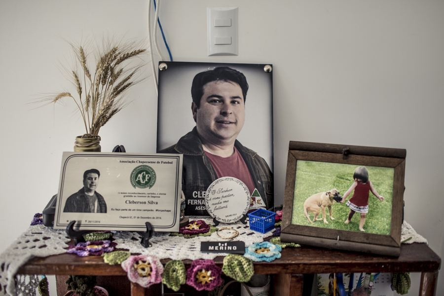 A memorial Sirli Freitas set up for her late husband Cleberson Silva.
