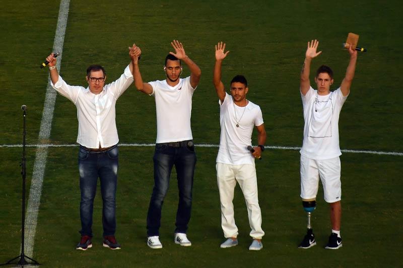 (From left to right) Rafael Henzel, Helio Neto, Alan Ruschel and Jakson Follmann at Arena Conda stadium.